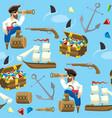 pirat and treasure seamless pattern vector image