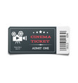 realistic modern black movie ticket isolated on vector image vector image