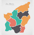 san marino map with states and modern round shapes vector image vector image