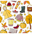 seamless hand drawn pattern with autumn elements o vector image vector image