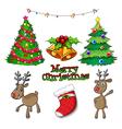 Set of christmas decors vector image