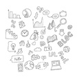 set of hand drawn social doodles vector image vector image