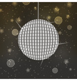 shiny disco ball on abstract bokeh background vector image