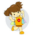 Shopaholic young girl is holding many shopping bag vector image