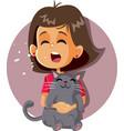 sneezing girl having cat allergy holding kitten vector image vector image