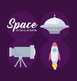 spaceship with telescope and startup rocket vector image vector image