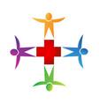 teamwork medical emergency people icon logo vector image vector image
