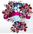 valentines day back with orchids and air balloon vector image vector image
