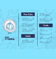 vegan restaurant menu hand drawn design vector image