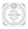 vintage thin line sagittarius sign label vector image