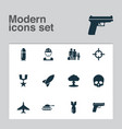 warfare icons set collection of rocket military vector image vector image