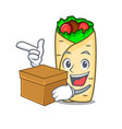 with box burrito character cartoon style vector image vector image
