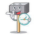 with clock hammer cartoon for tenderizer the meat vector image vector image