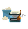 writers items typing machine and smoking pipe vector image vector image
