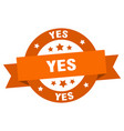 yes ribbon yes round orange sign yes vector image vector image