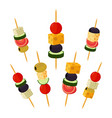 canapes tapas in flat style buffet restaurant vector image