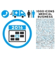 2016 Date Icon with 1000 Medical Business Symbols vector image vector image