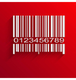 Barcode image on red background vector image vector image