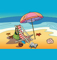 beach lounger and sun umbrella vector image