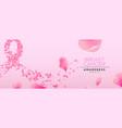 breast cancer awareness pink flower petal ribbon vector image vector image