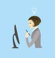 business woman sitting at a computer monitor vector image vector image