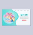 candy sweet landing banner vector image