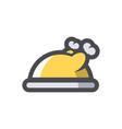 chicken dish food icon cartoon vector image