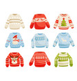 christmas sweaters set warm knitted jumper with vector image