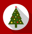 christmas tree color on red background with long vector image