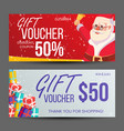 christmas voucher horizontal banner merry vector image
