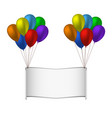 colorfull balloons and banner on white background vector image vector image