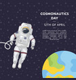 cosmonautics day poster with spaceman vector image vector image