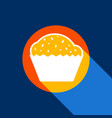 cupcake sign white icon on tangelo circle vector image vector image