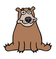 cute lonely brown bear sitting and looking vector image vector image