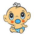 Funny baby boy Cute baby boy sitting in a diaper vector image
