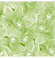 Green and white orchid drawing seamless pattern vector image vector image