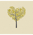 Heart Shaped Tree on Recycled Paper vector image vector image