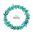 herbal pre-made composition round wreath with vector image vector image