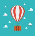 hot air balloon with travel suitcase vector image