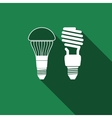 LED bulb and fluorescent light bulb icon vector image vector image