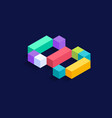 letter s isometric colorful cubes 3d design vector image