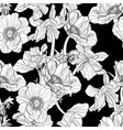 line anemone flowers pattern vector image vector image