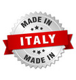 made in italy silver badge with red ribbon vector image