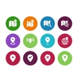 Map circle icons GPS and Navigation vector image vector image