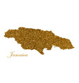 map jamaica island silhouette with golden vector image