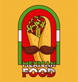 mexican food taco with mustache poster vector image