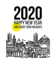 numbers 2020 with cityscape tourist attractions vector image