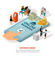 online banking isometric banner vector image