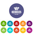 organic berries icons set color vector image vector image