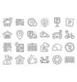parking line icons set garage valet servant vector image vector image